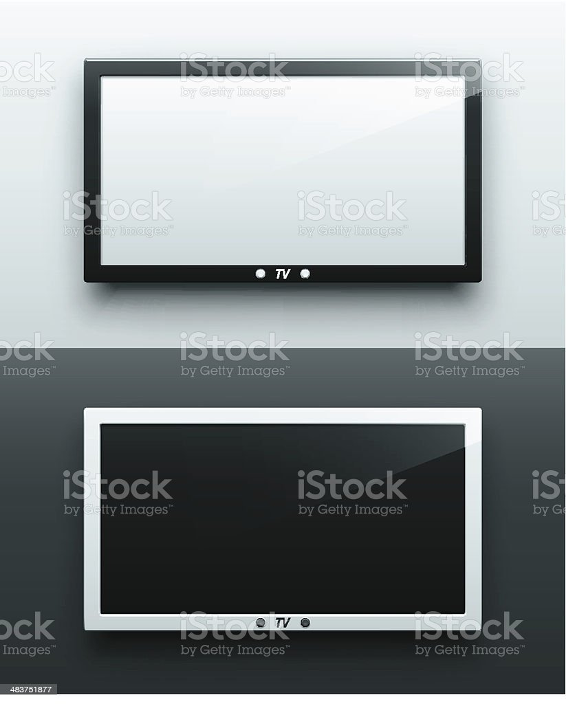TV screen hanging vector art illustration