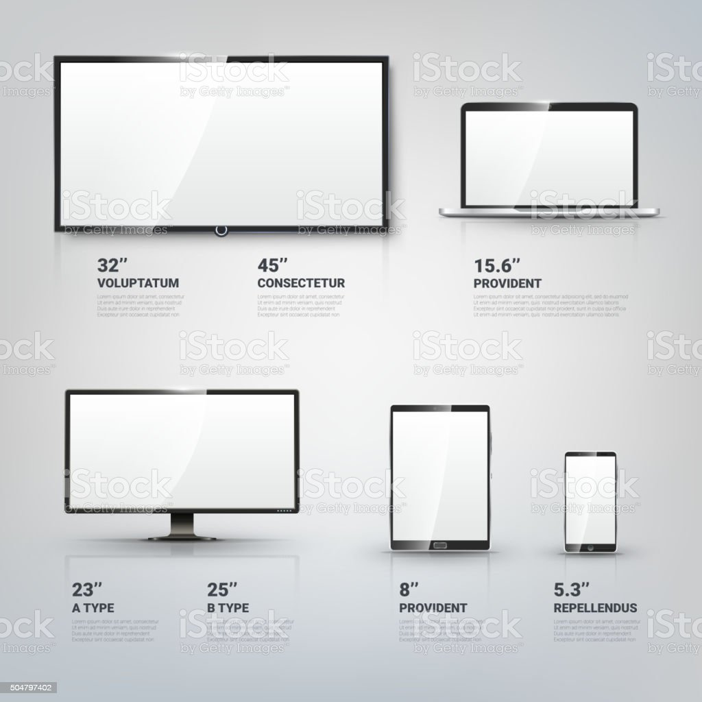 TV screen, Lcd monitor, notebook, tablet computer, mobile phone templates vector art illustration