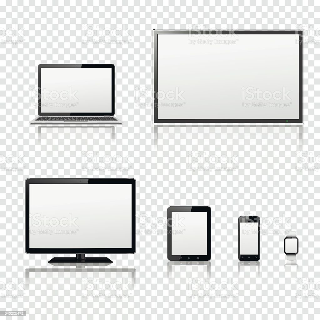 TV screen, lcd monitor, notebook, tablet computer, smartphone, smart watch vector art illustration