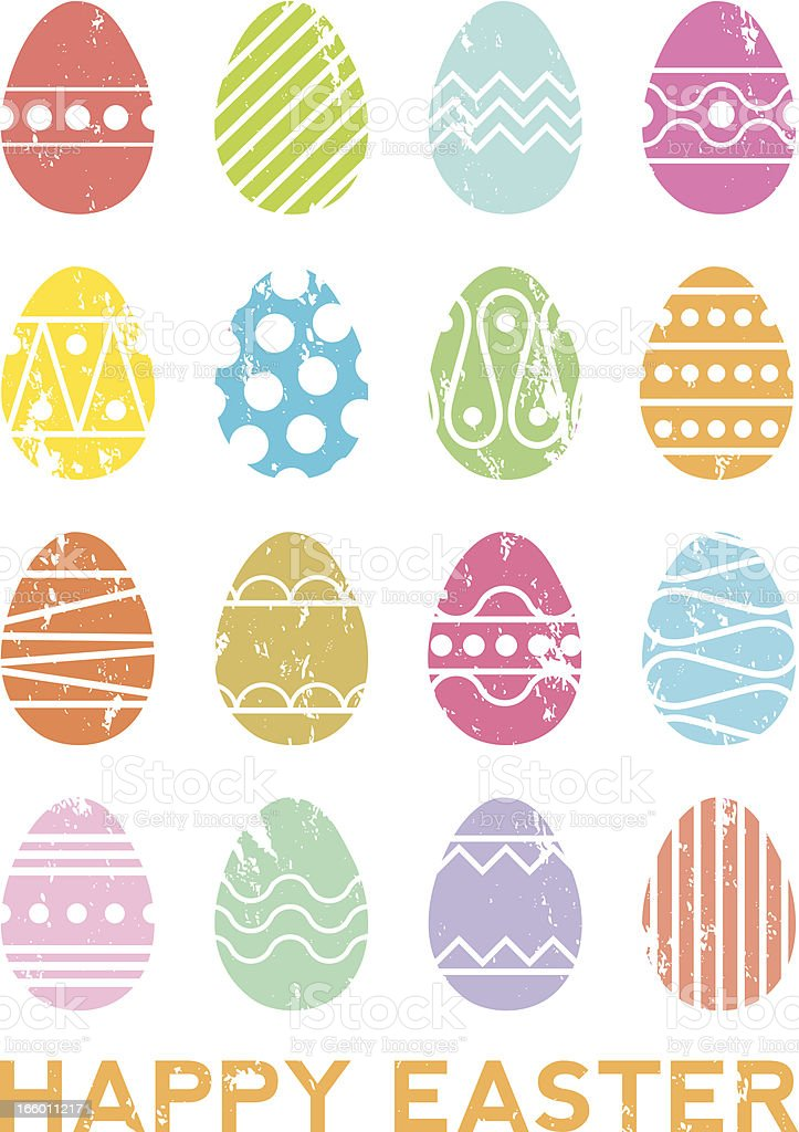 Screen printed Happy Easter poster vector art illustration