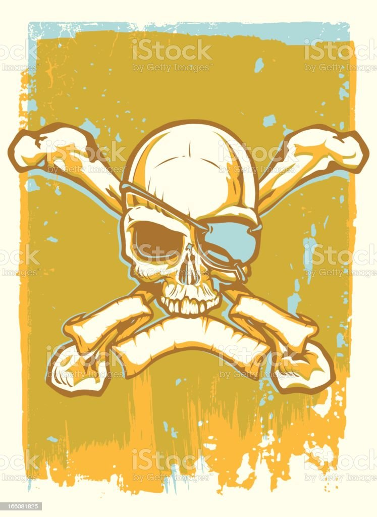 Screen Printed Skull royalty-free stock vector art