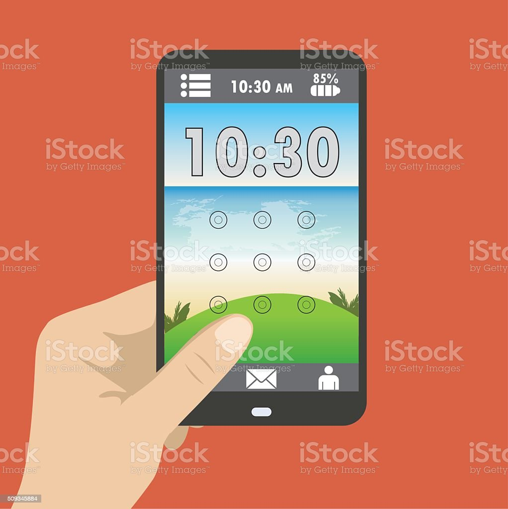 screen saver with a graphical password vector art illustration