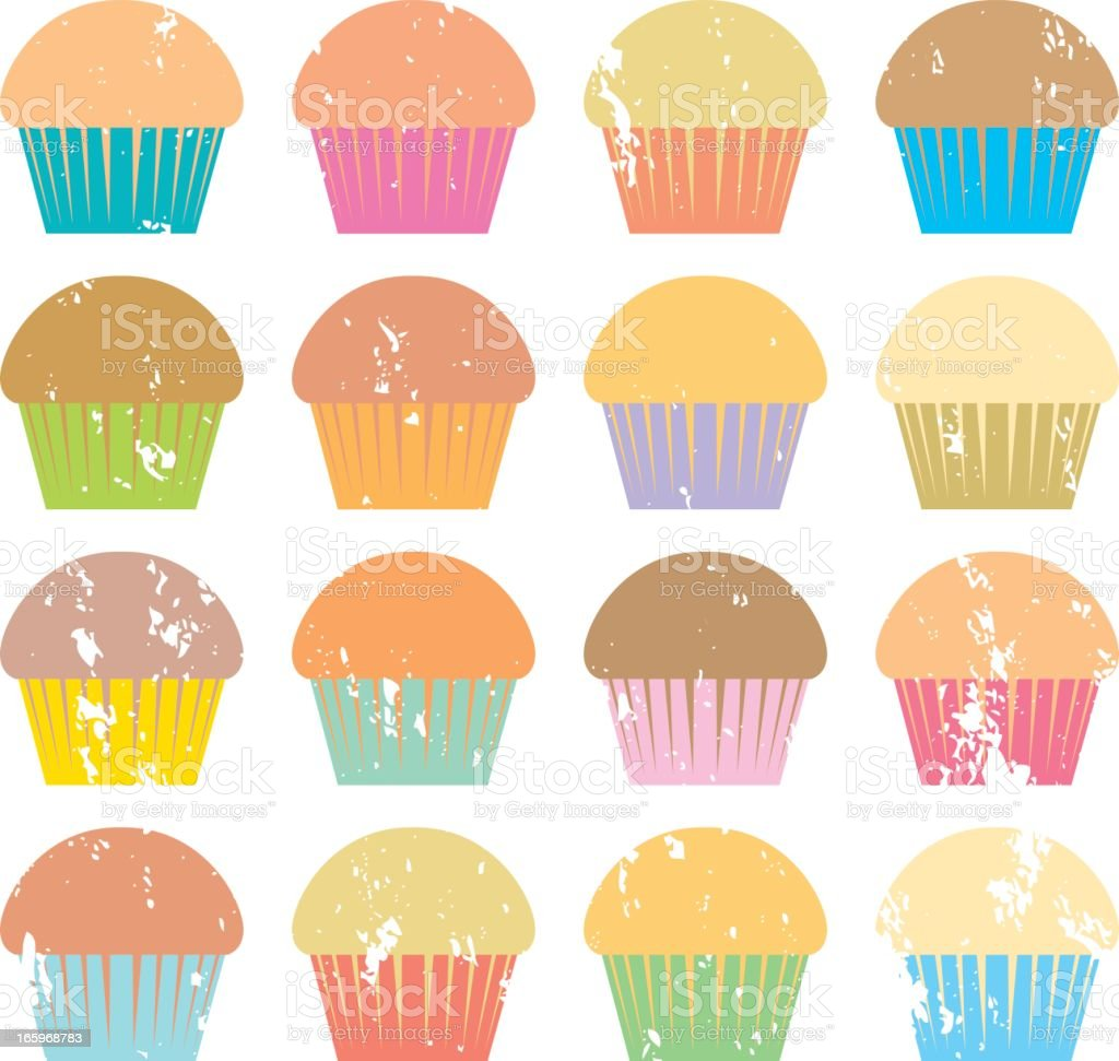 Screenprinted Muffins vector art illustration