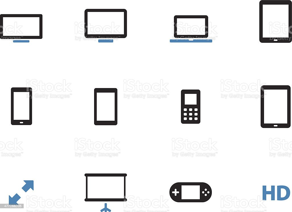 Screens duotone icons on white background. royalty-free stock vector art