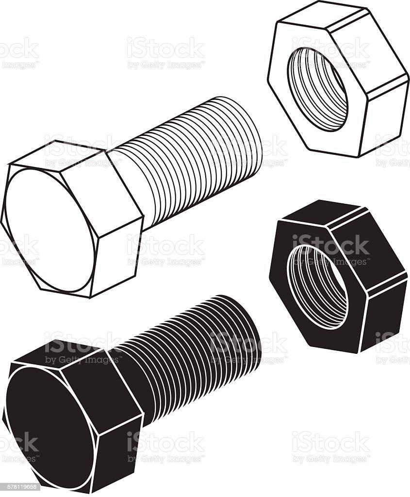 Screw bolt with nut vector art illustration