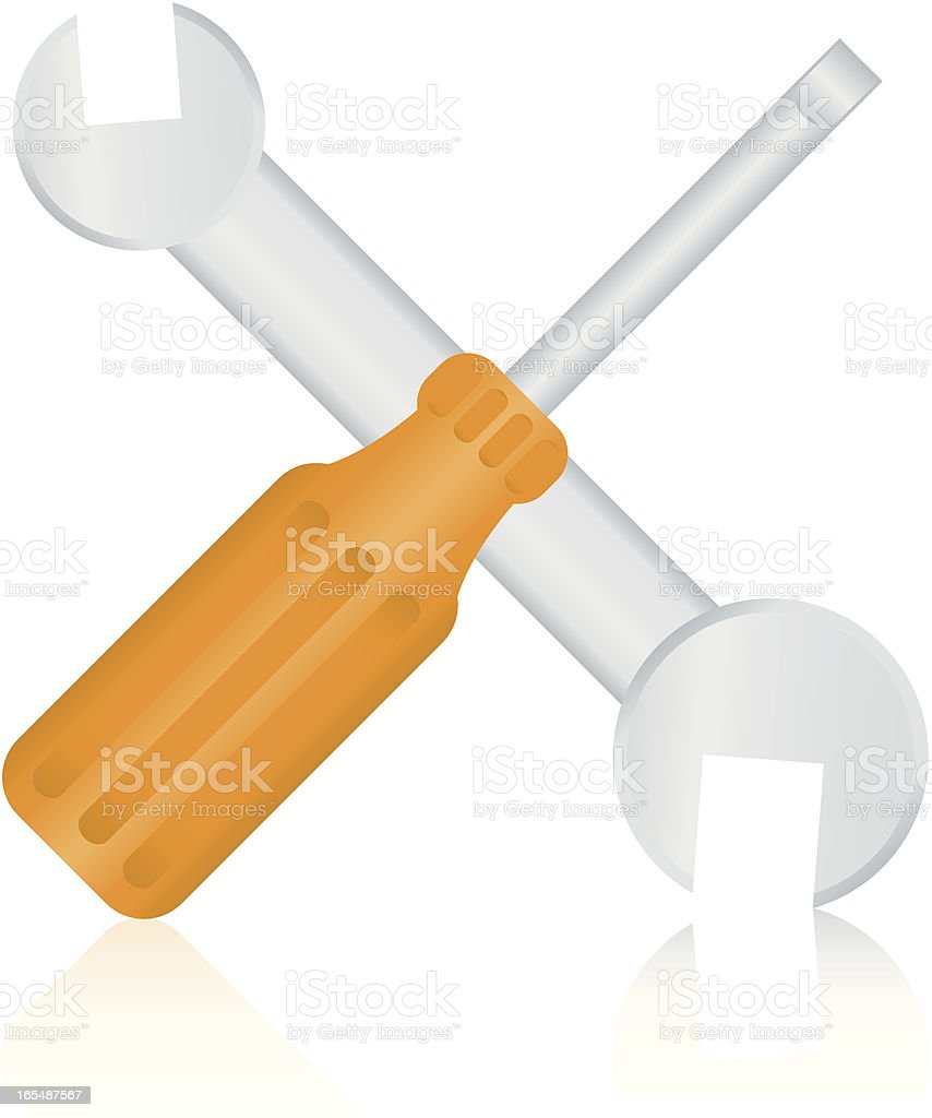 Screw Driver and Wrench royalty-free stock vector art