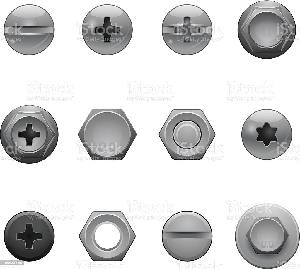 Screw Head Icons vector art illustration