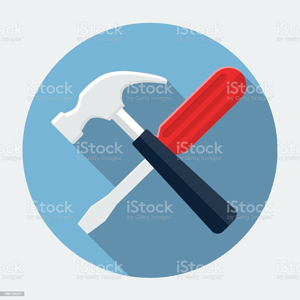 Screwdriver And Hammer,Settings Icon vector art illustration