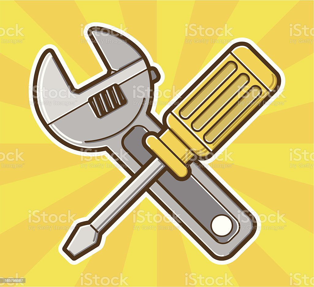 screwdriver and wrench royalty-free stock vector art