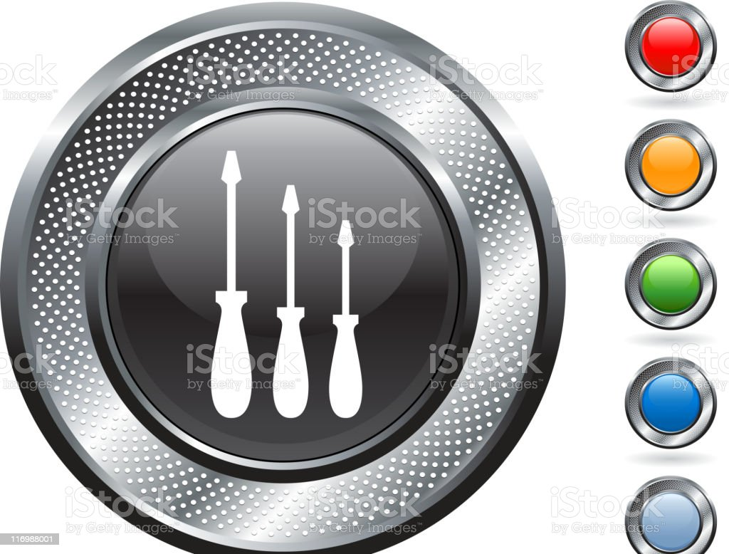 Screwdriver set royalty free vector art on metallic button royalty-free stock vector art