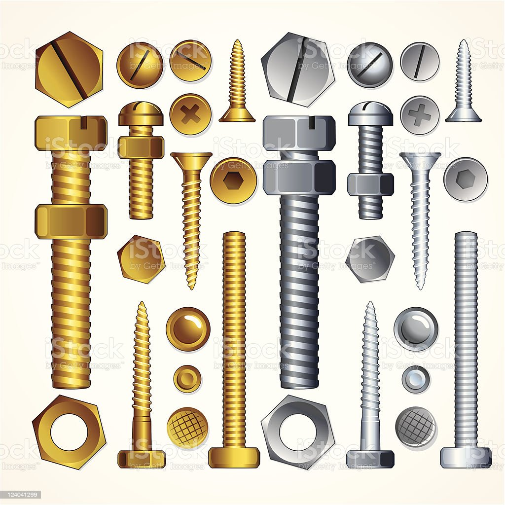 Screws and Bolts vector art illustration