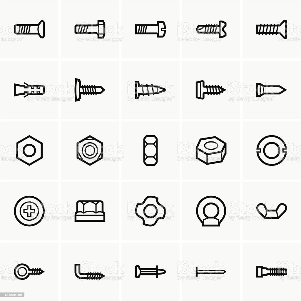 Screws and nuts icons vector art illustration