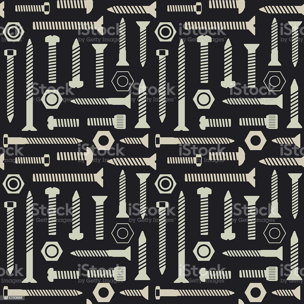 Screws and nuts vector seamless pattern background 4 vector art illustration