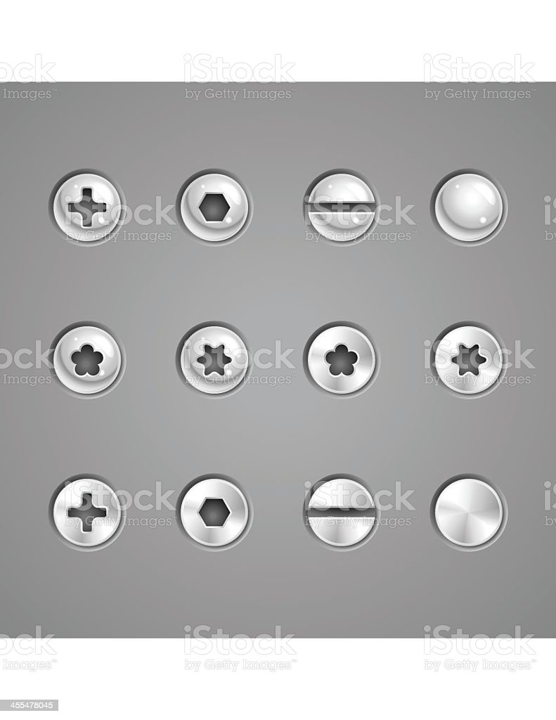 Screws and Rivets vector art illustration