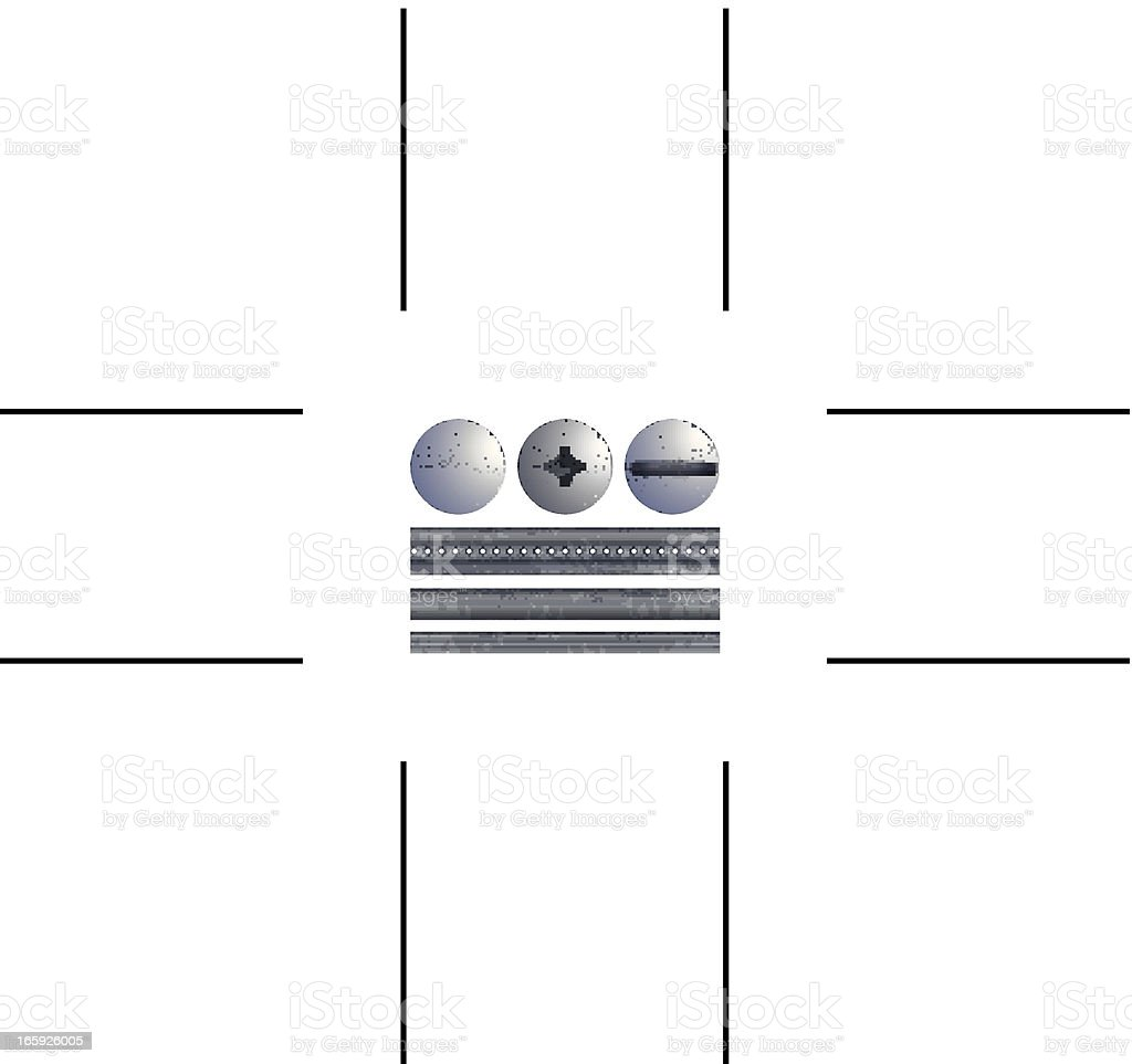 screws and rods vector art illustration