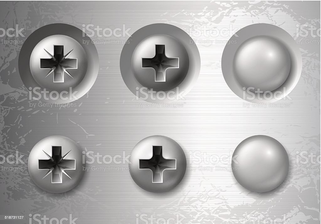 Screws, bolts and rivets vector art illustration