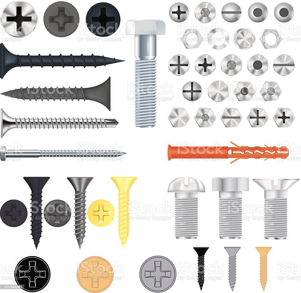 Screws, bolts. Set vector art illustration