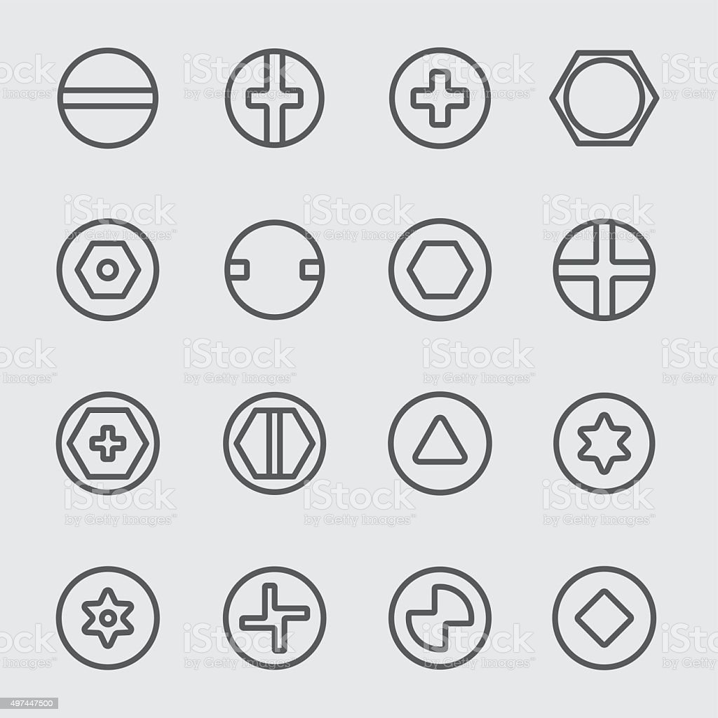 Screws head line icon vector art illustration