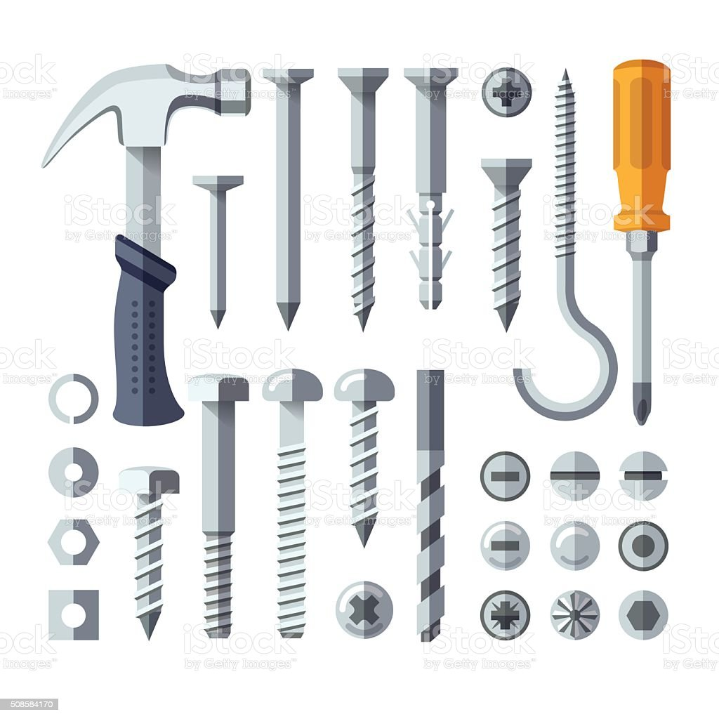 Screws, nuts, nails, rivets vector art illustration