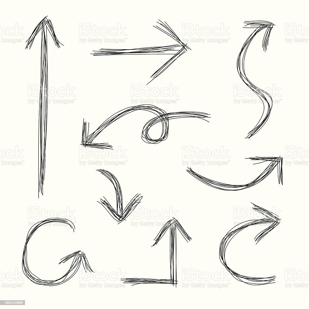 Scribble Arrows vector art illustration