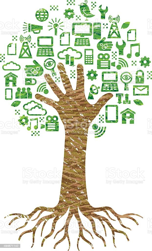 Scribble digital hand tree vector art illustration