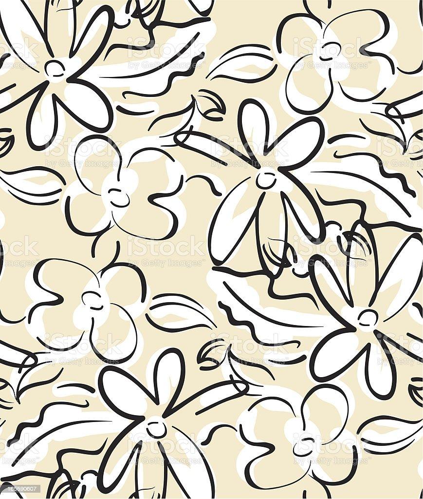 Scribble Flowers Seamless pattern Beige royalty-free stock vector art