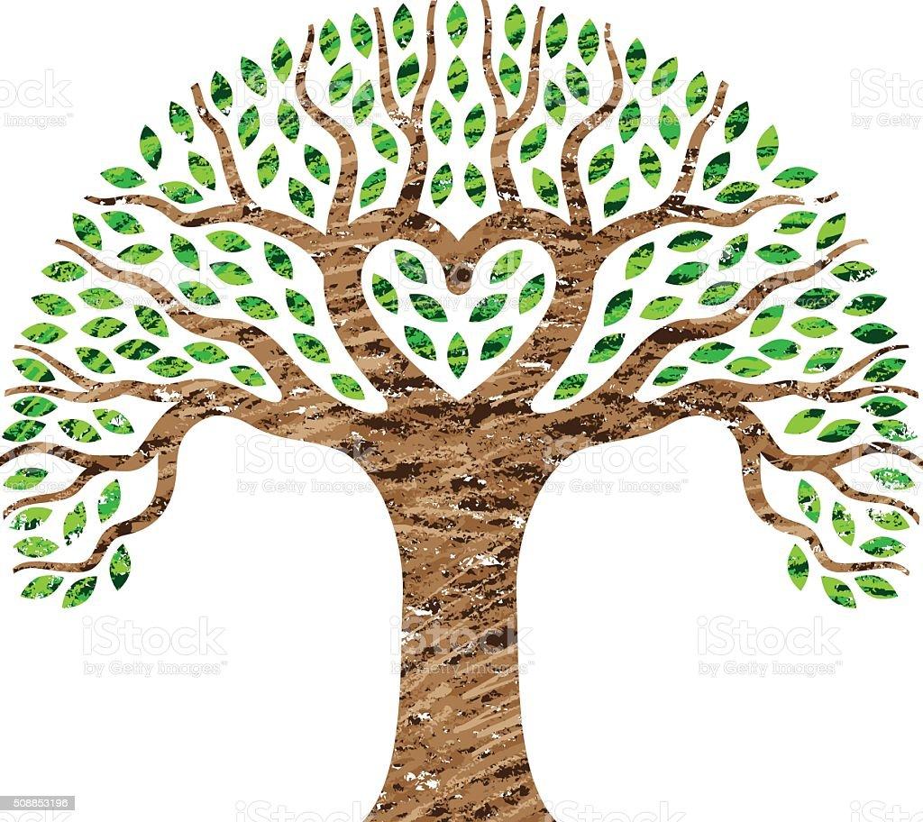 Scribble heart tree illustration vector art illustration