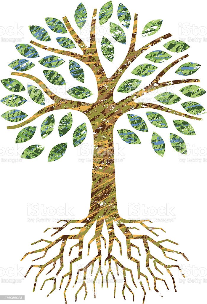 Scribble little tree and roots royalty-free stock vector art
