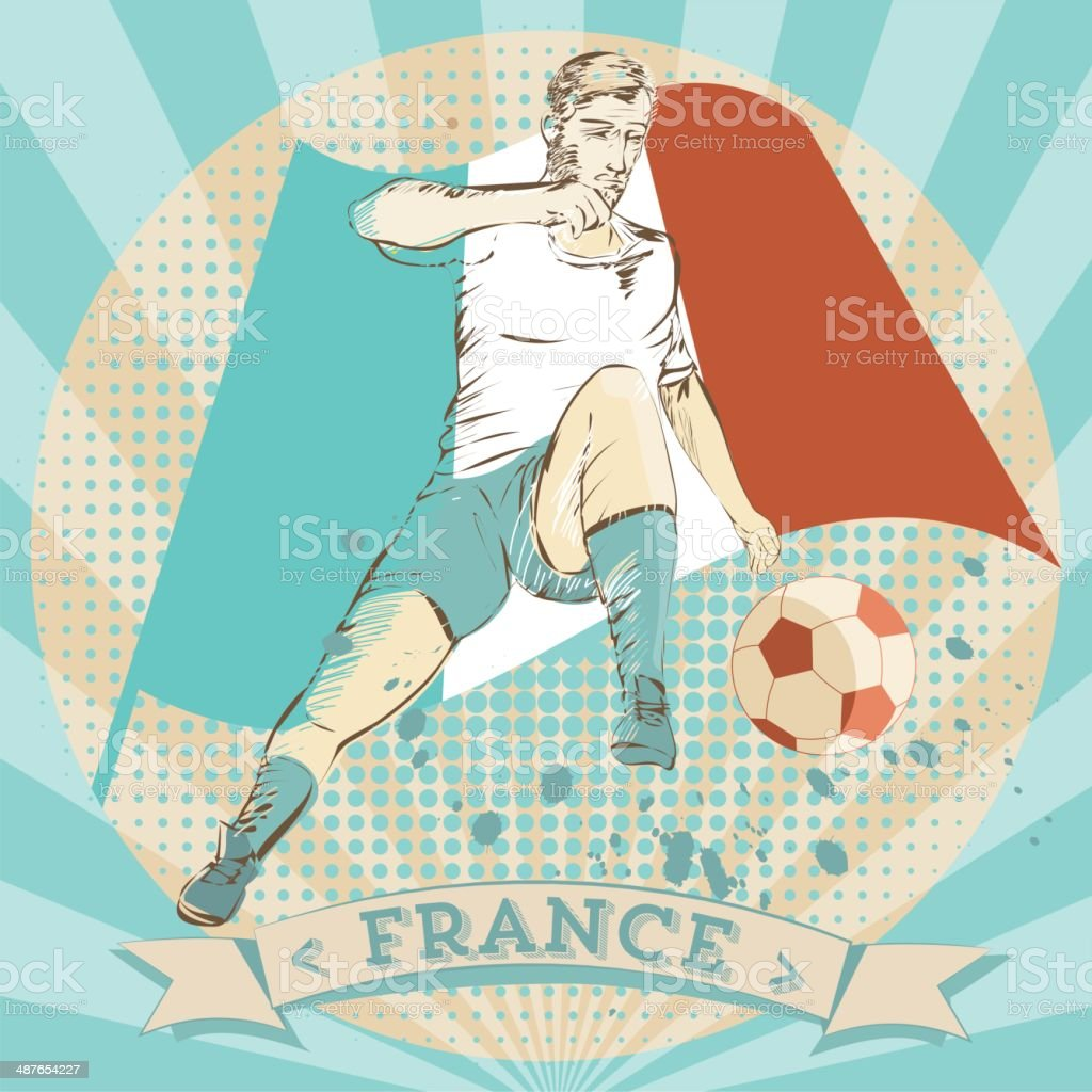scribble of a french soccer player royalty-free stock vector art