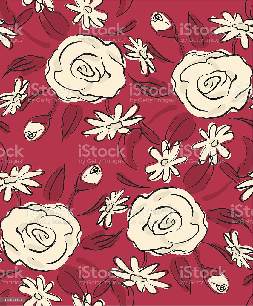 Scribble Roses Seamless pattern -Red and Beige royalty-free stock vector art