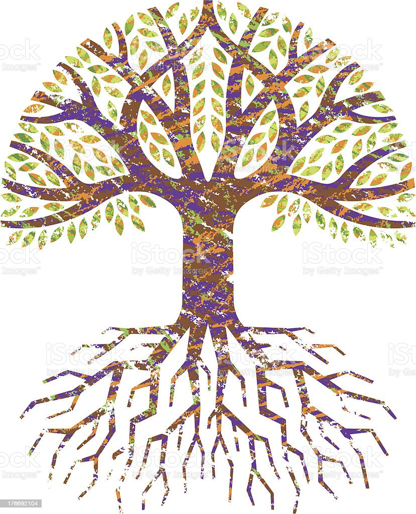 Scribble round graphic tree roots royalty-free stock vector art