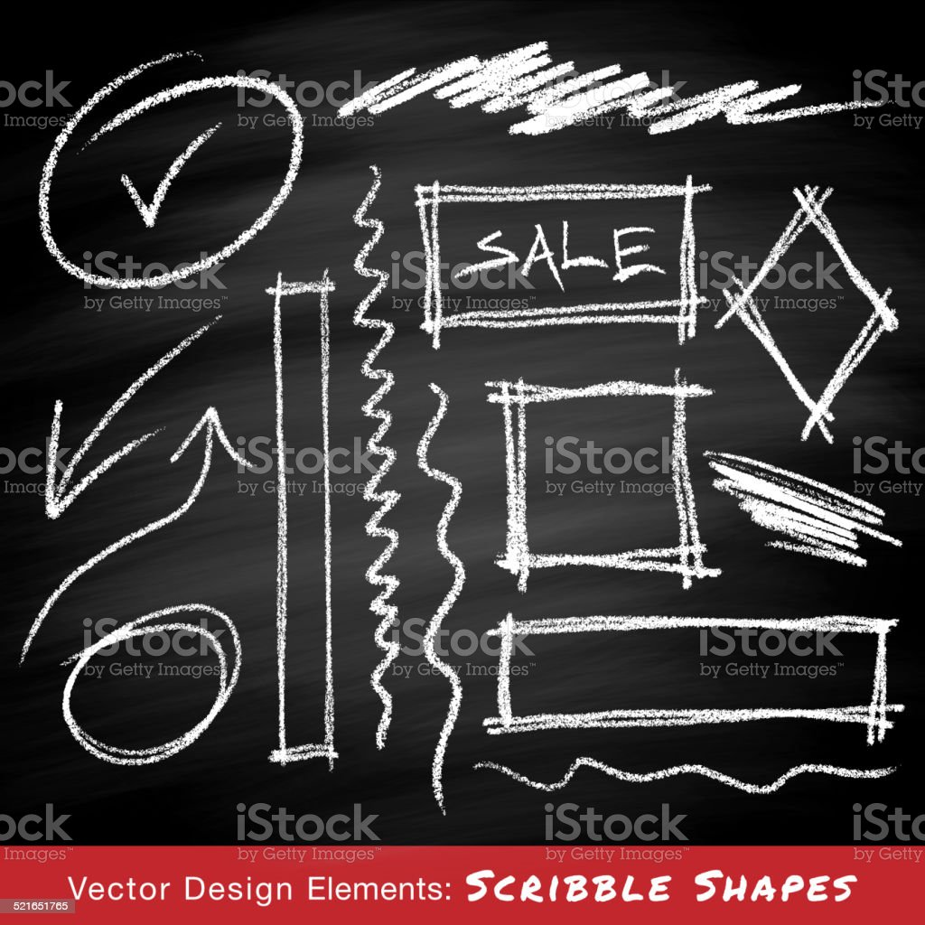 Scribble shapes hand drawn in chalk on chalkboard background vector art illustration