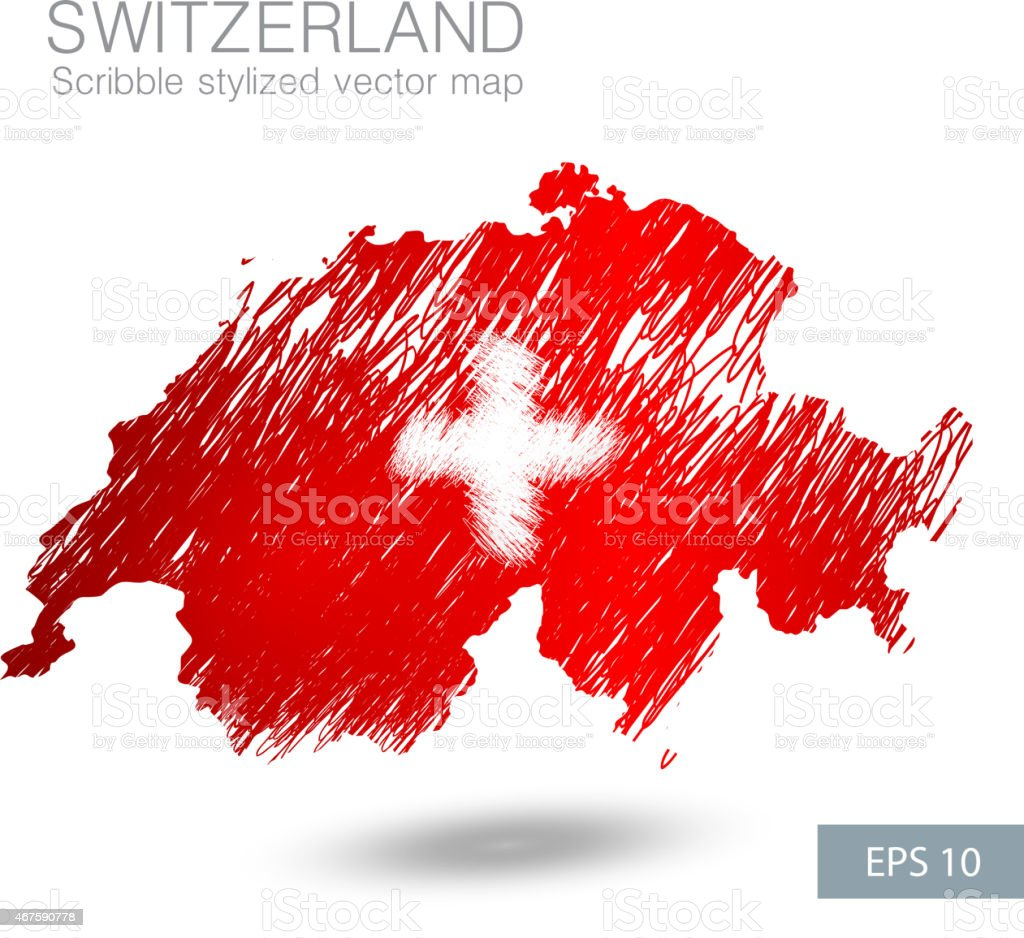 Scribble stylized map of Switzerland vector art illustration