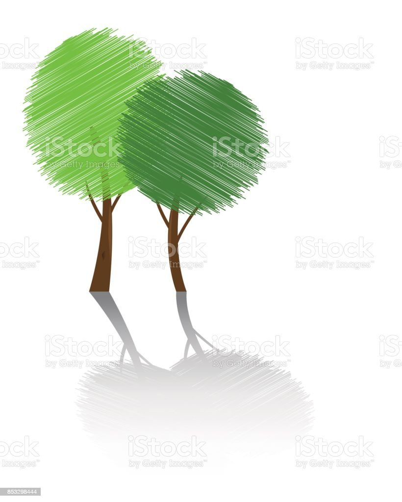 Scribble Trees With Shadow vector art illustration