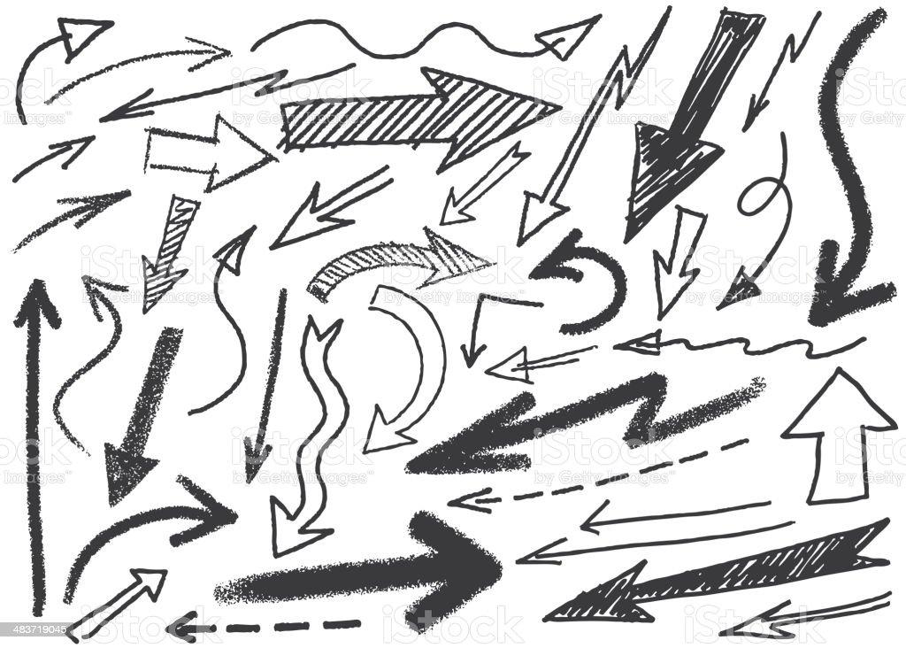 Scribbled Arrows royalty-free stock vector art