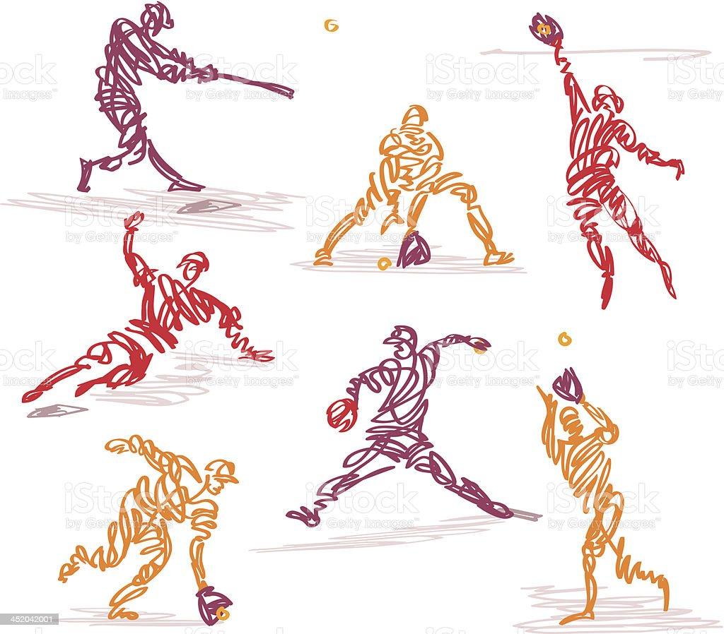 Scribbled Baseball vector art illustration