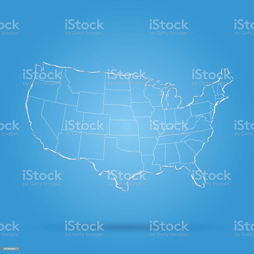 USA scribbled charcoal map on light blue background vector art illustration