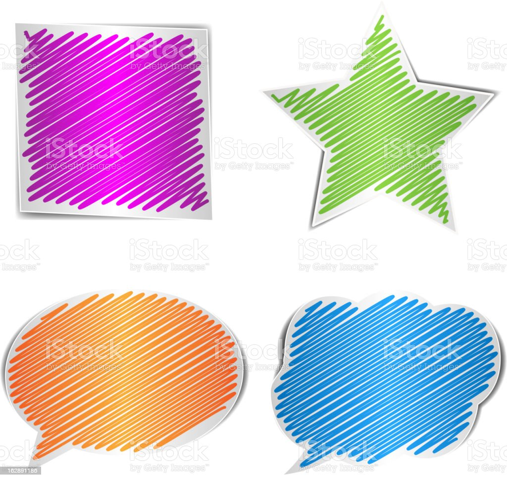 Scribbled collection of shape royalty-free stock vector art