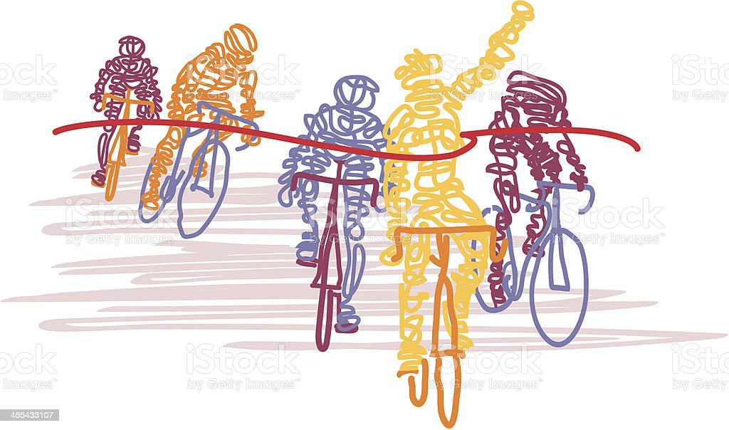 Scribbled Cyclists Cross the Finish Line vector art illustration