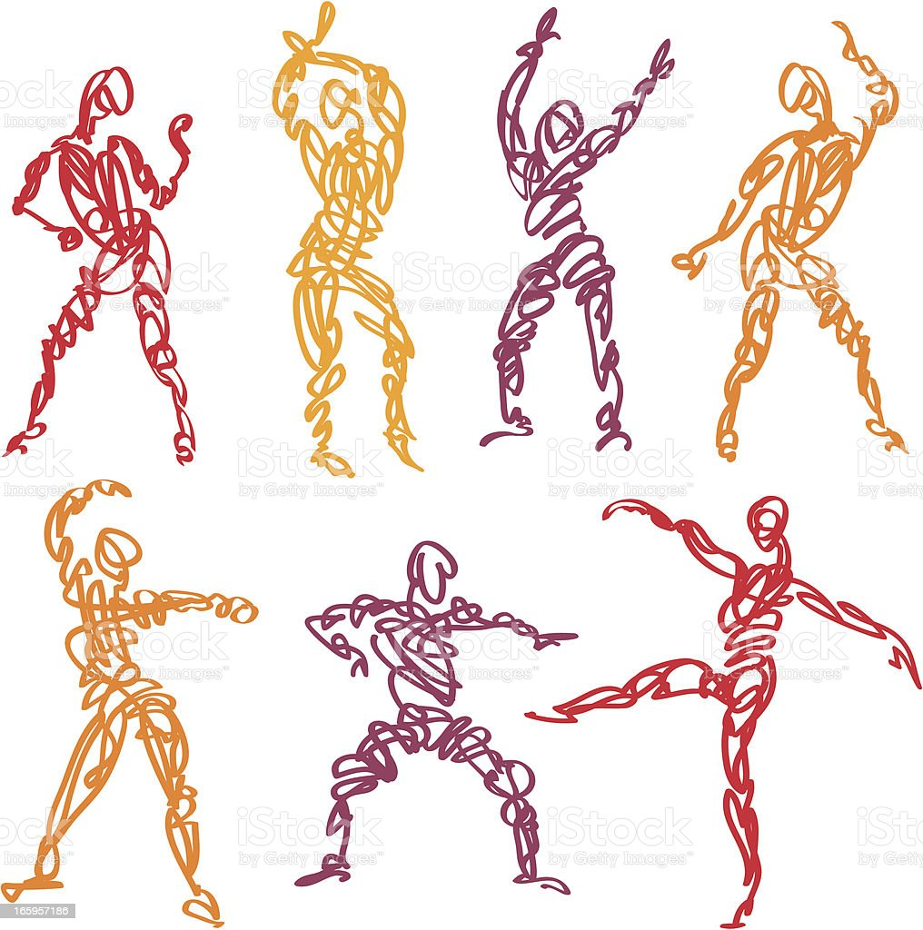 Scribbled Dance Fitness vector art illustration