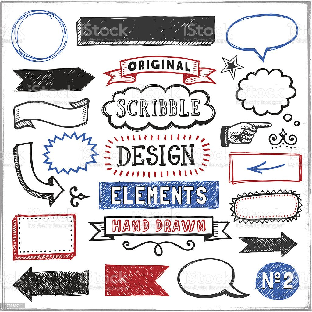 Scribbled Design Elements vector art illustration