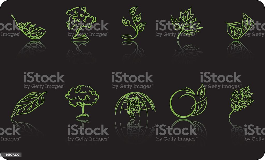 Scribbled Environment Icons royalty-free stock vector art