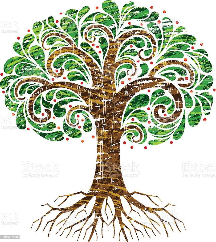 Scribbled green swirl tree vector art illustration