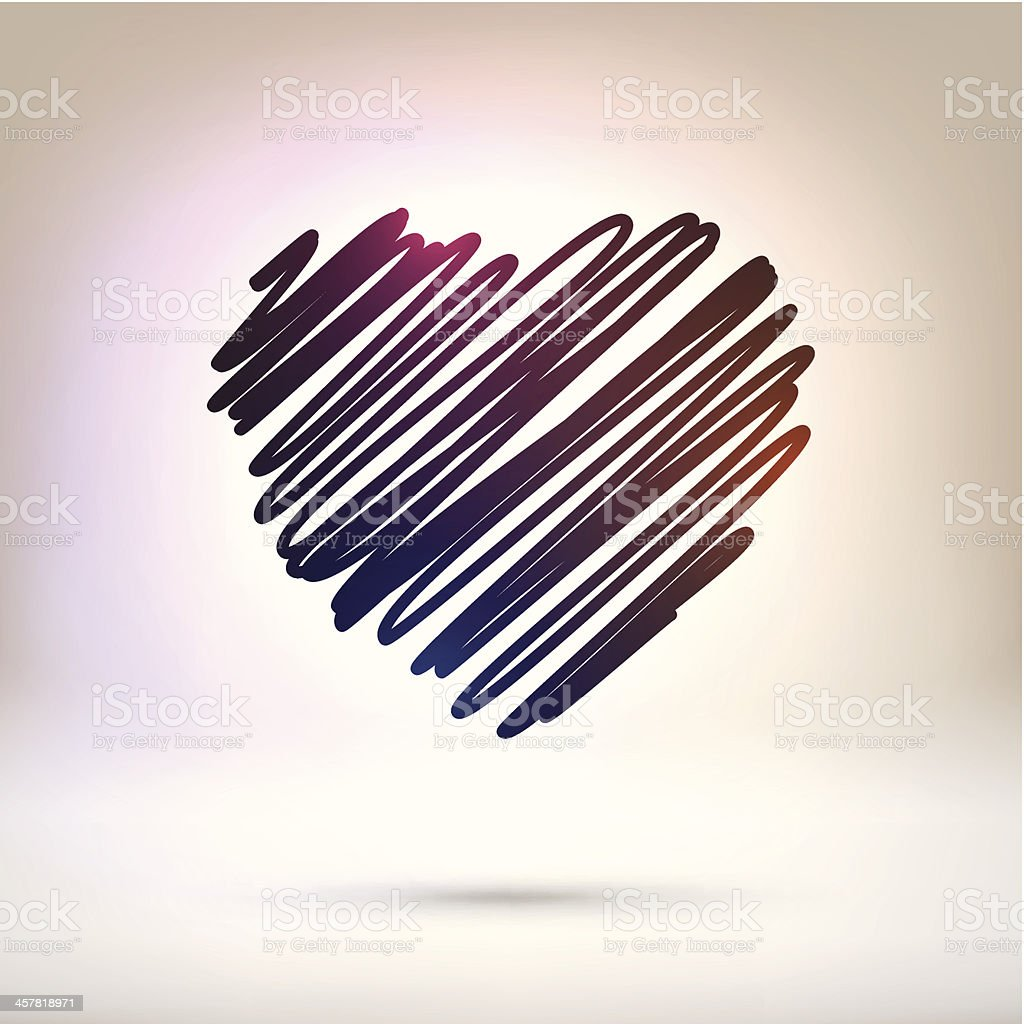 Scribbled heart on shining Background royalty-free stock vector art