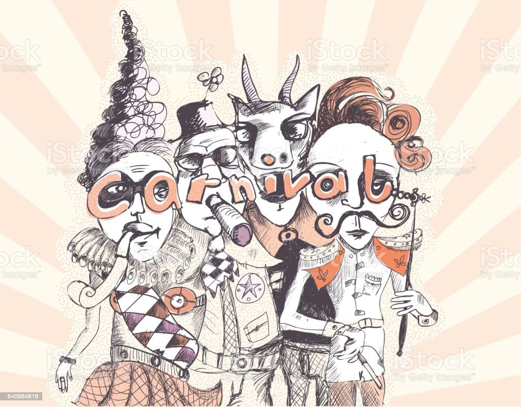 scribbled illustration of crazy carnival people vector art illustration