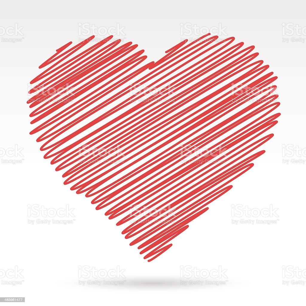 Scribbled red heart vector art illustration