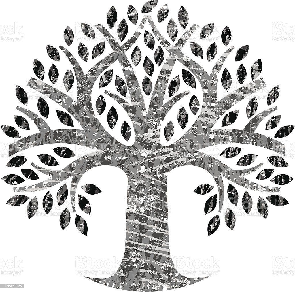Scribbled round mono tree royalty-free stock vector art
