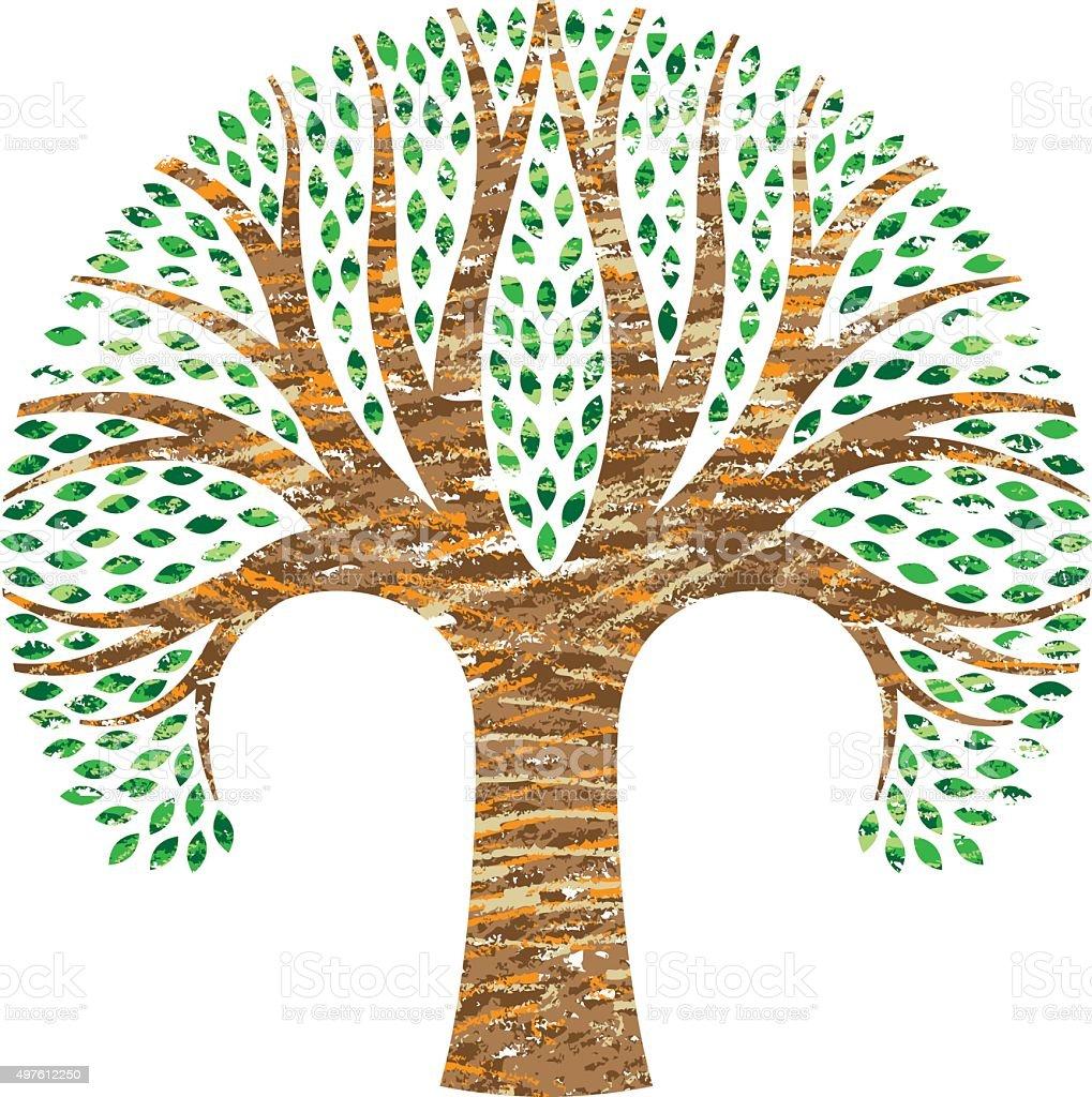 Scribbled round tree illustration vector art illustration