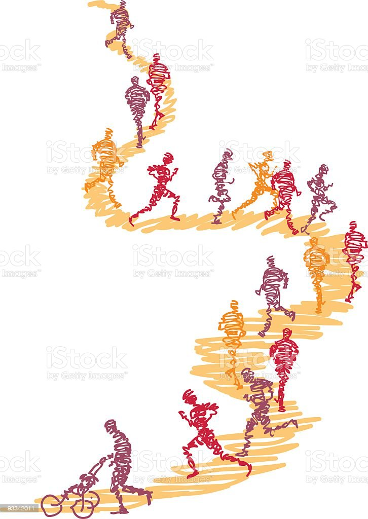 Scribbled runners on a path vector art illustration