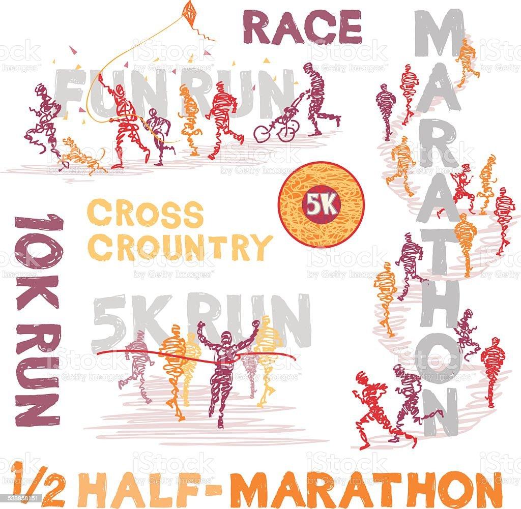 Scribbled Running Events vector art illustration